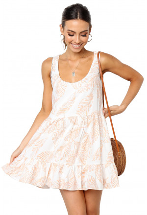 Leaf Pattern Ruffled Summer Boho Dress