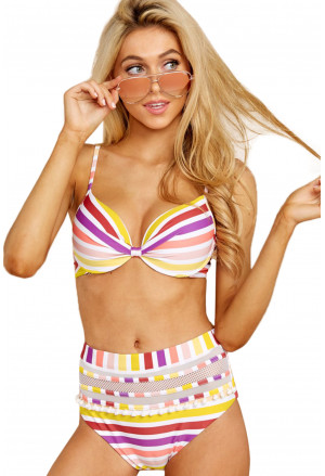 Multicolor Striped Push up Bikini Simona