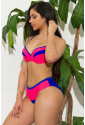 Red and Blue Colorblock Push up Bikini