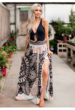 Summer maxi bohemian skirt with tassels