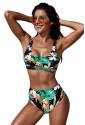 Green U-neckline High Waist Tropical Bikini