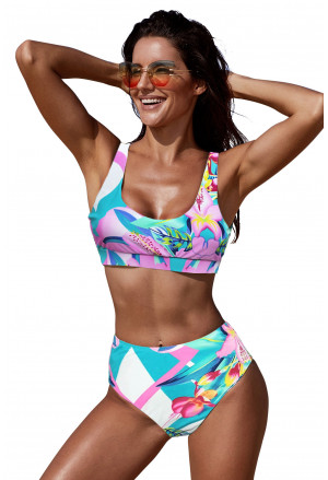Pink U-neckline High Waist Tropical Bikini