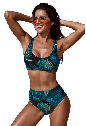 Black Palm U-neckline High Waist Tropical Bikini