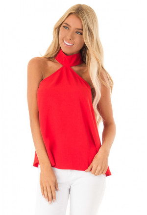 Sleeveless Halter Top with Keyhole Back