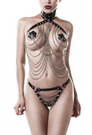 3 parts chain bondage lingerie set GREY VELVET