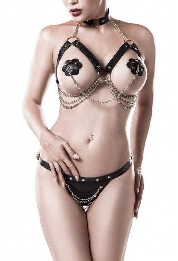 3-piece erotic harness lingerie set by Grey Velvet