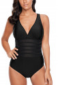 Black Mesh Cutout Strappy One Piece Swimsuit