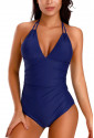 Blue Adjustable Halterneck One Piece Swimsuit