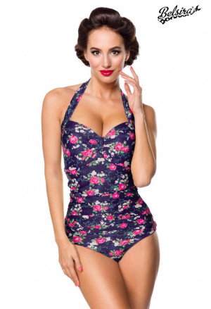 Vintage one-piece swimsuit with floral pattern