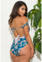 Blue One-piece Floral Print Swimsuit