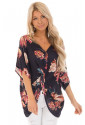 Black Amaryllis Floral Twist Top