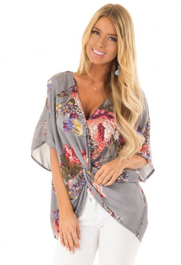 Grey Amaryllis Floral Twist Top