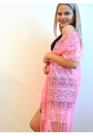 Beach lace kimono with fringes