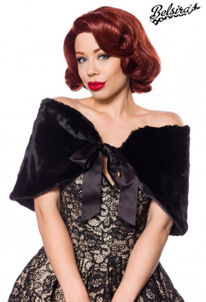 Elegant black warm fake fur bolero