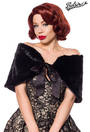 Elegant black warm fake fur bolero