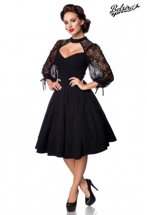 Black long sleeve lace retro dress Belsira