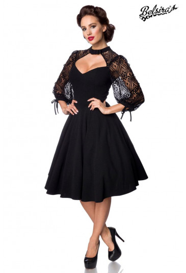 Black long sleeve lace retro dress Belsira