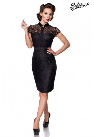 Sophisticated black lace midi slim dress in vintage cut