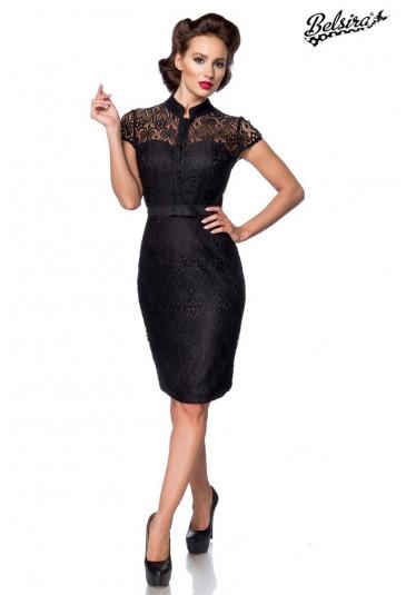 Sophisticated black lace midi slim dress in vintage cut