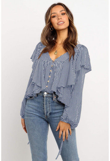Stripe blouse with long sleeves
