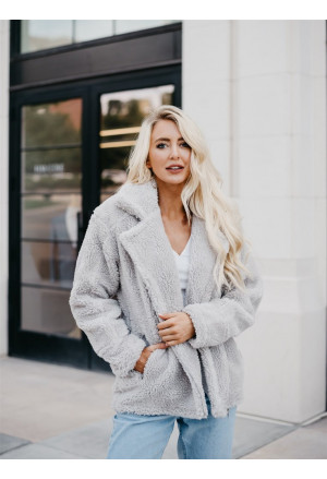 Grey Pocketed Sherpa Faux Fur Jacket