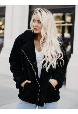 Black Pocketed Sherpa Faux Fur Jacket