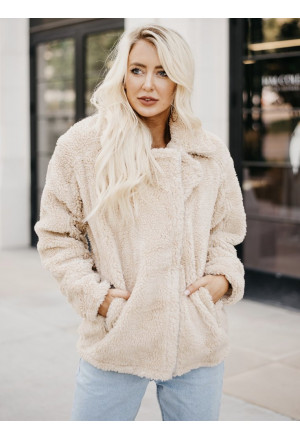 Camel Pocketed Sherpa Faux Fur Jacket