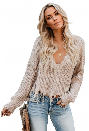 Apricot Tainted Love Cotton Distressed Sweater