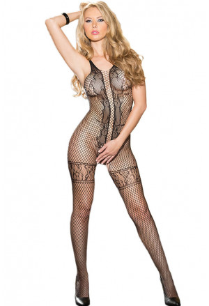 Lace Net Bodystocking in Black