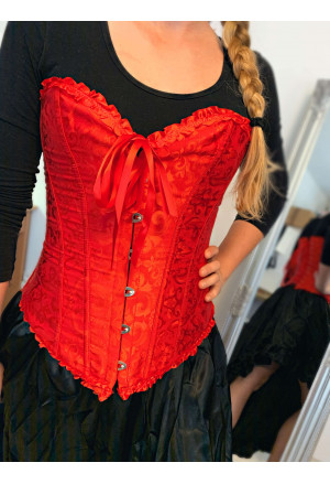 Brocade Corset Vamp - red