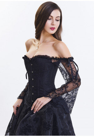 Victorian Gothic Off Shoulder Black Floral Lace Corset with Sleeves