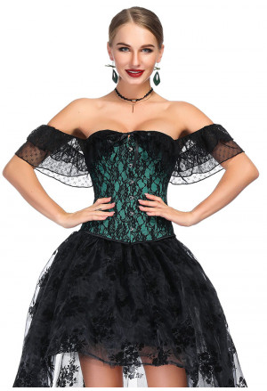 Victorian Gothic Off Shoulder Green Floral Lace Corset with Sleeves