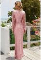 Sequin Fringe Sleeve Party Maxi Evening Dress