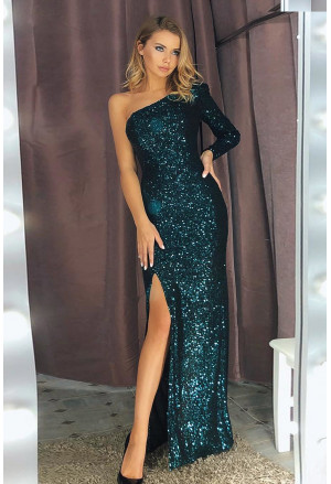 Fortune One Shoulder Front Slit Sequin Gown
