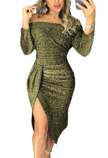 Trendy metallic glitter off shoulder party dress