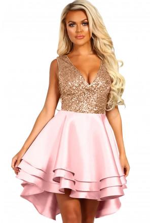 Heart Broken Pink Gold Sequin Multi Layer Skater Dress
