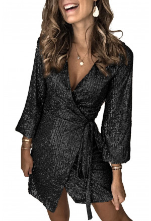 Black Sequin Wrap Dress with Sash