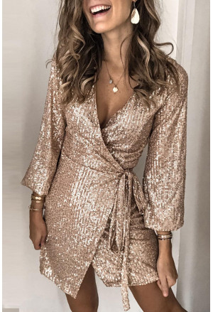 Apricot Gold Sequin Wrap Dress with Sash