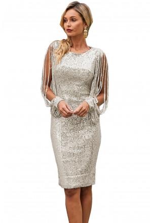 Silver Sequin Tassel Sleeve Bodycon Evening Dress