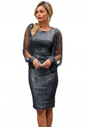 Black Sequin Tassel Sleeve Bodycon Evening Dress