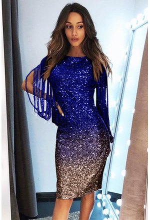 Ombre Sequin Tassel Sleeve Bodycon Evening Dress