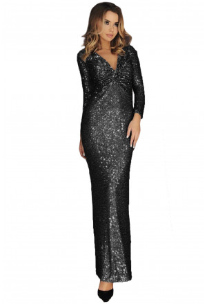 Long Sleeve Twist Ruched Sequin Maxi Dress
