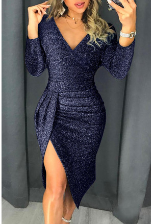 Trendy metallic glitter wrap dress