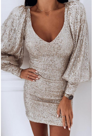 Puffy Sleeve Sequin Party Mini Dress