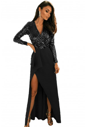 Long Sleeve V Neck Wrapped Sequin Bodice Long Party Dress