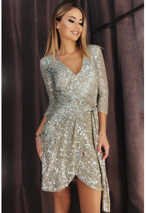 Silver 3/4 Sleeve V Neck Sash Tie Sequin Party Dress
