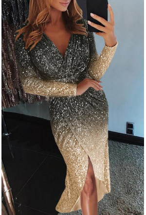 Black Ombre Sequin Wrap Dress with Sash