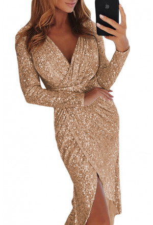 Sequins Wrapped Ruched Irregular Dresses