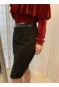Black Glamorous Pencil Skirt with Pu Waistband