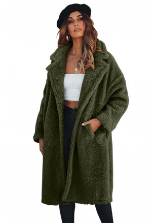 Army Green Oversize Furry Long Coat